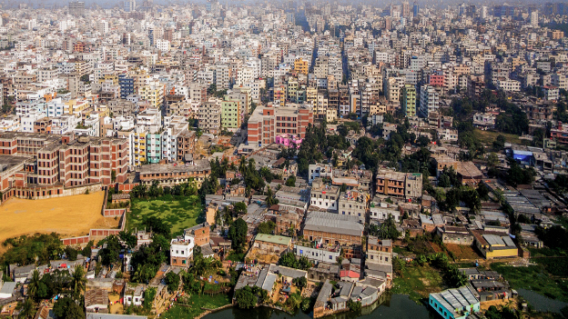 View of the skyline of Dhaka.